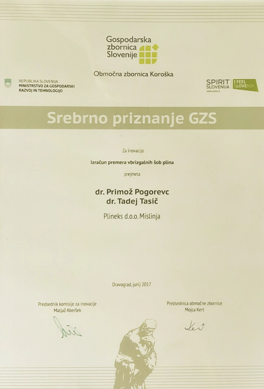 PLINEKS prejel srebrno priznanje GZS